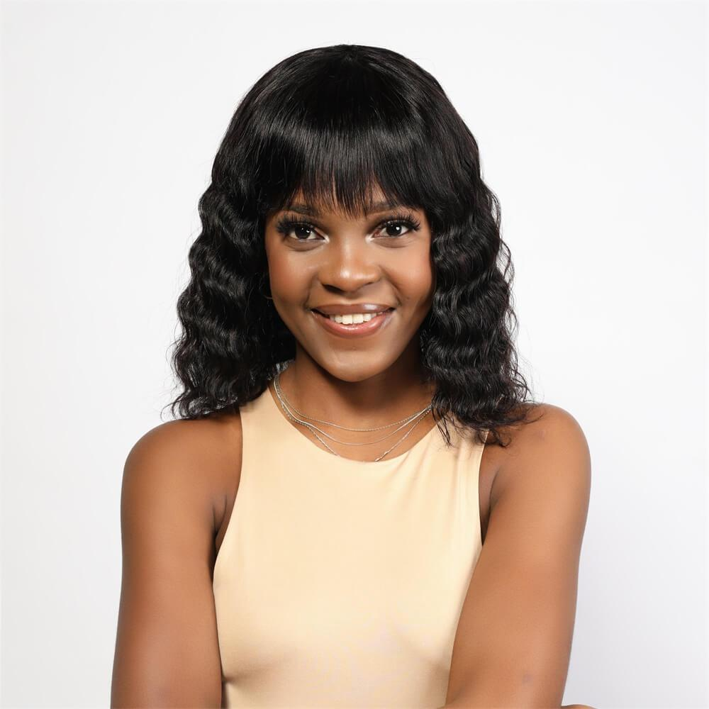 Body Wave Bob Wig Non Lace Wig with Bangs - Neobeauty Hair