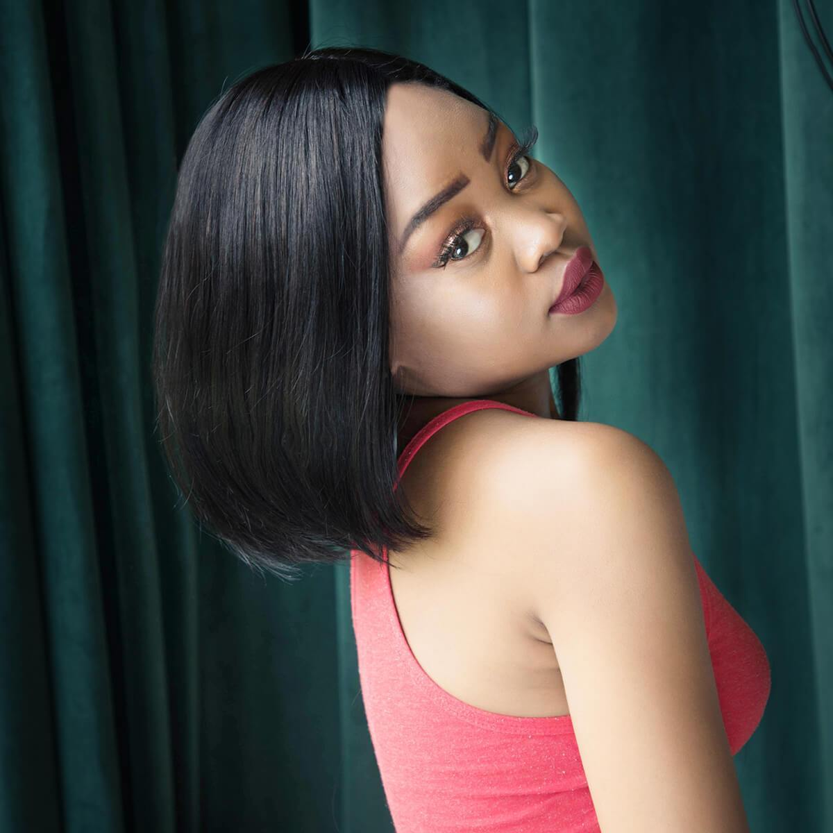 Short Bambi Bob Straight T Part Lace Wigs For Black Women - Neobeauty Hair