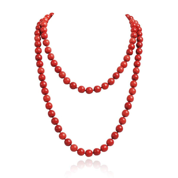 JANE STONE Fashion Costume Jewelry Long Red Bead Necklace for Women Girls