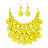Fashion Floating Bubble Necklace Teardrop Bib Collar Statement Jewelry Set for Women