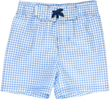Load image into Gallery viewer, Boy's Swim Trunks - Blue Gingham
