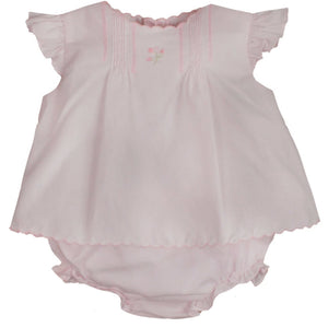 Baby Girl's Pink 2 pc Diaper Set with Scalloped Details