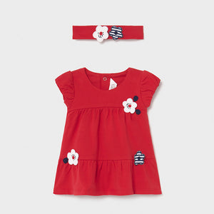 Infant Girl's Red Knit Dress with Navy & White Floral Appliques