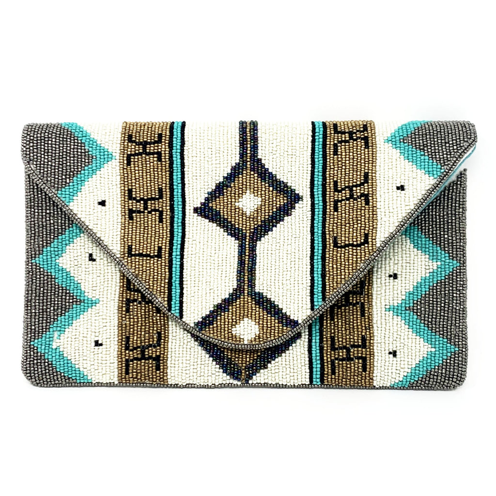 Tribal Beaded Envelope Clutch