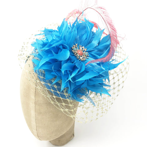 Kentucky Derby Turquoise & Coral Headpiece