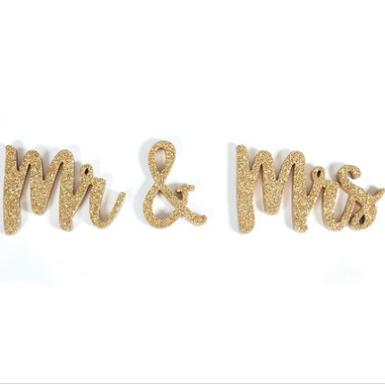 Mr. & Mrs. Gold Glitter Table Talker