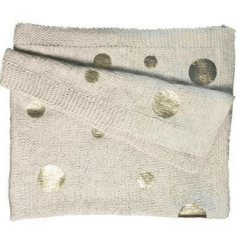 Gold Dotted Knit Throw