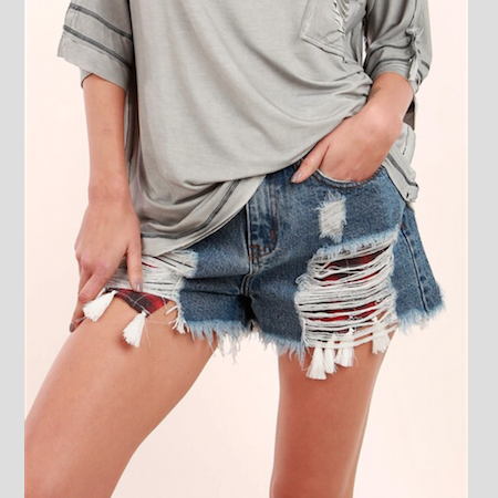 Distressed Denim Shorts with Plaid Pocket