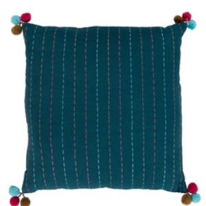 Teal Multi Pom Pom Pillow