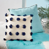 Navy Pom Pom Canvas Pillow