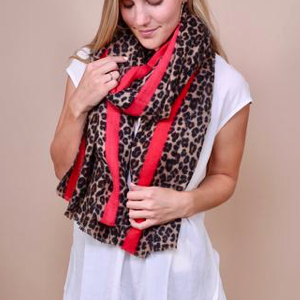 Lucky Red Stripe Leopard Print Scarf