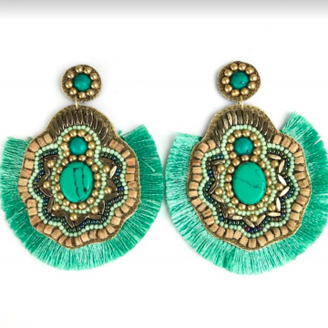 Hand Beaded Earrings with Fringe
