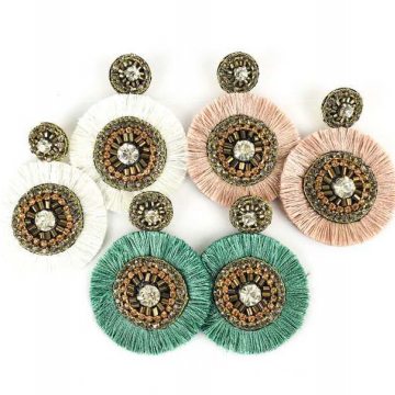 Beaded Earrings w/ Fringe