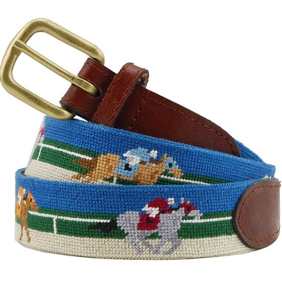 Derby Scene Needlepoint Belt