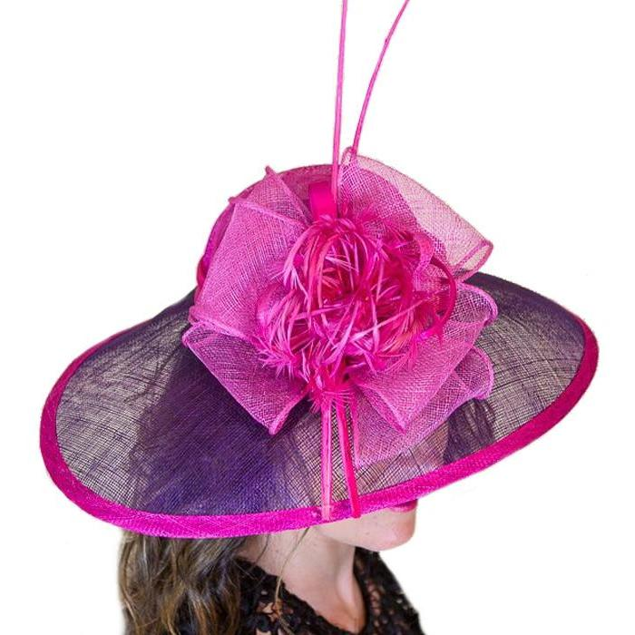 Kentucky Derby Fascinator Blue w/ Pink Flower