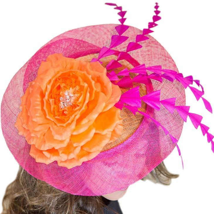 Kentucky Derby Fascinator Pink w/ Orange Flower