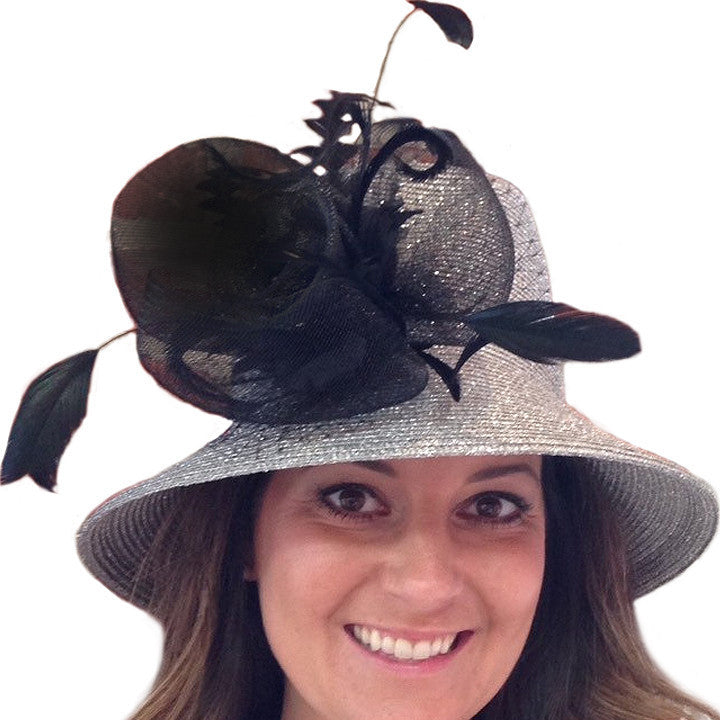 Kentucky Derby Hat - Silver w/ Black Flower