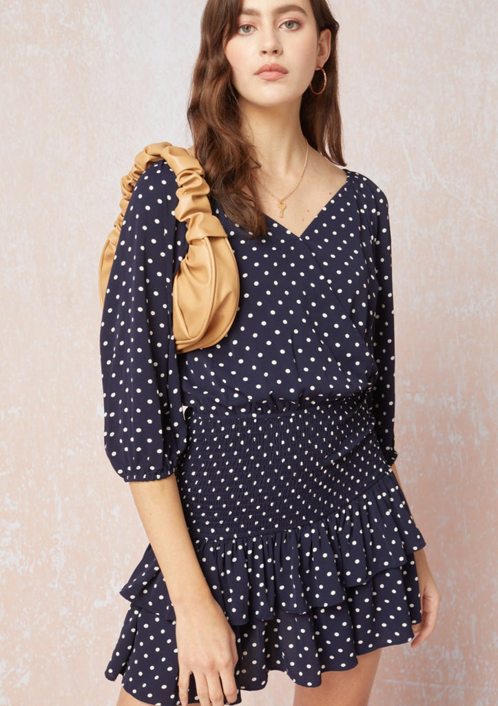 Navy Polka Dot Smocked Waist Dress