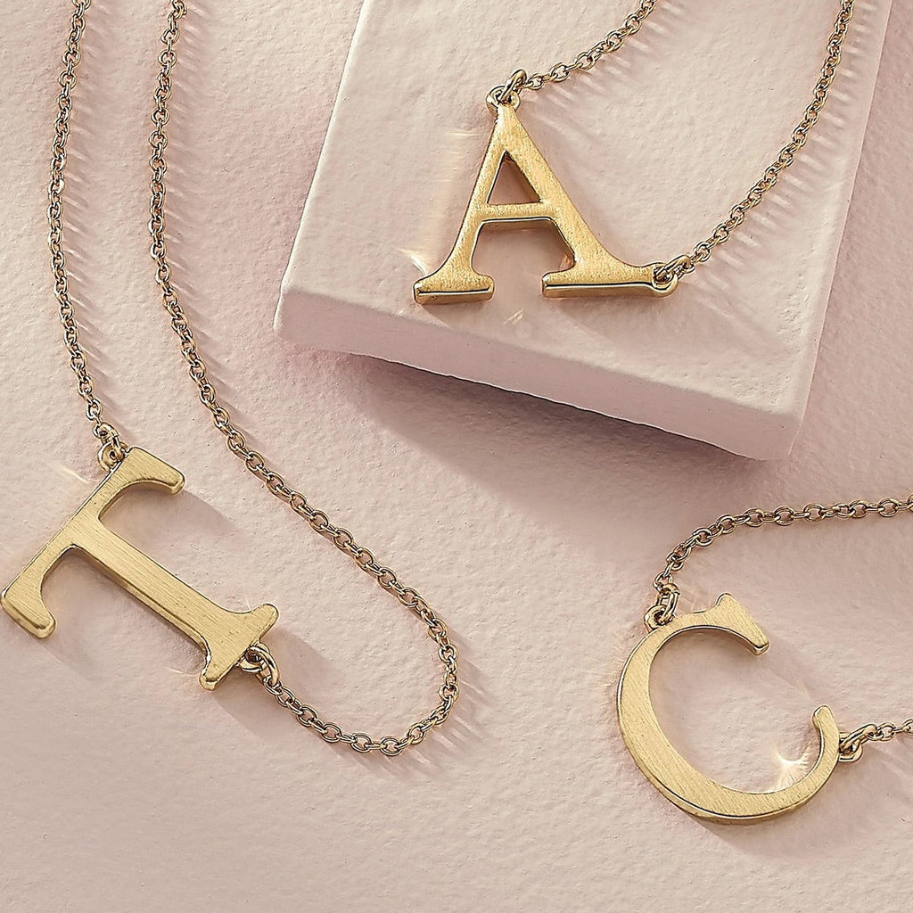 Livia Initial Necklace in Satin Gold | Available in 12 Different Letters