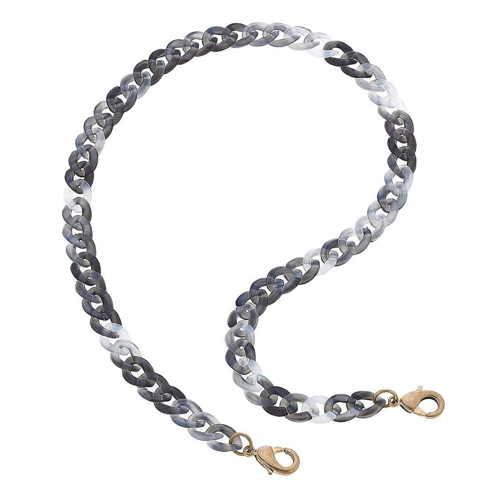 Legacy Resin Curb Chain Mask Necklace in Grey - 20