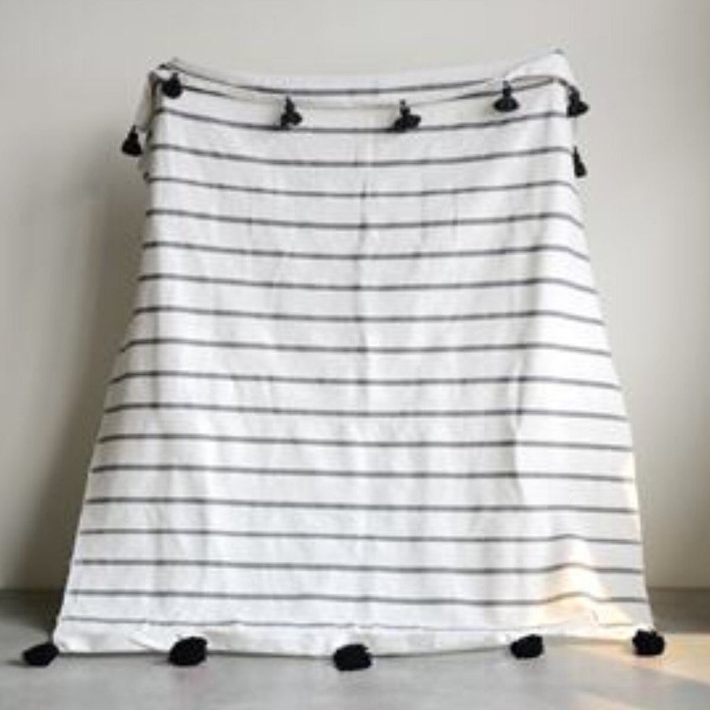 "Hand Loomed Striped Cotton Bed Cover 59""L x 78""W"