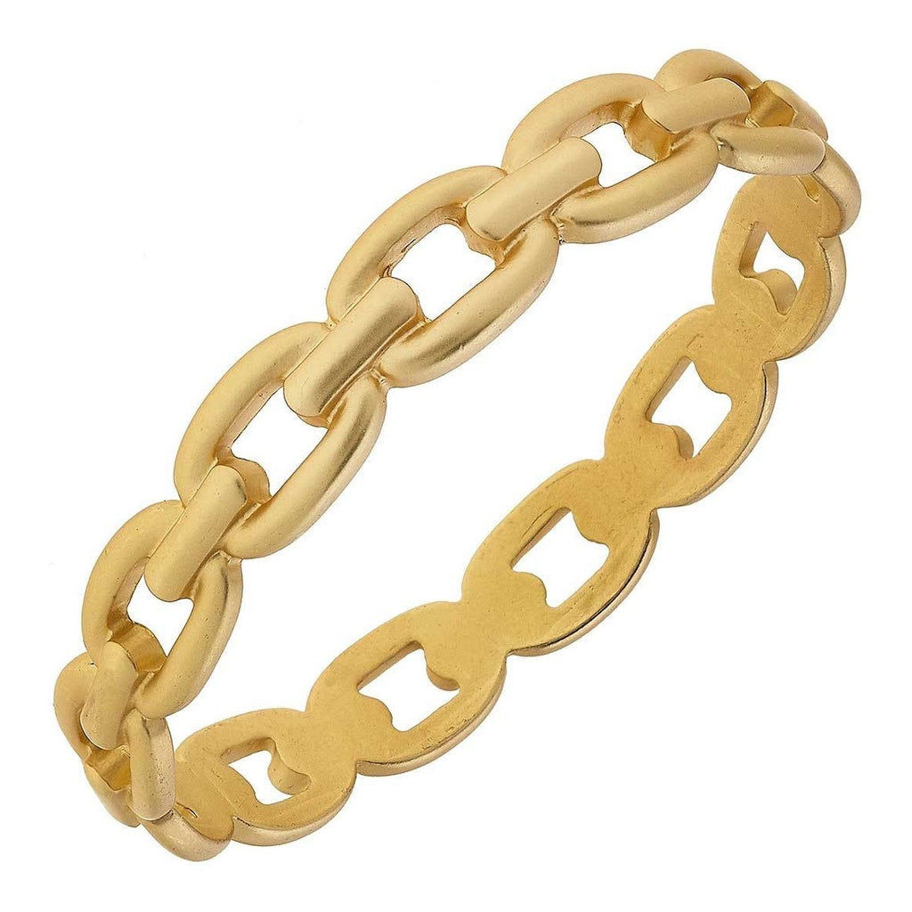 Calais Frozen Chain Link Bangle Bracelet in Matte Gold