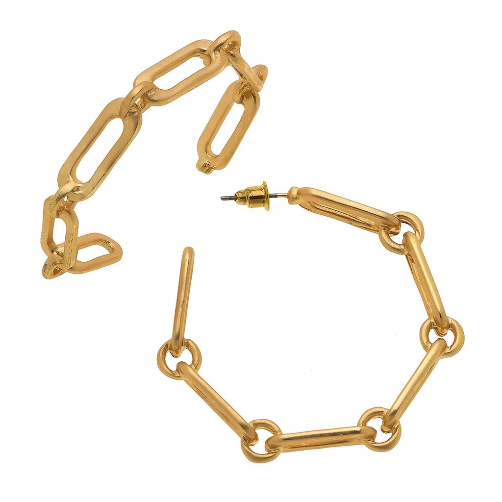Nora Frozen Chain Link Hoop Earrings in Matte Gold