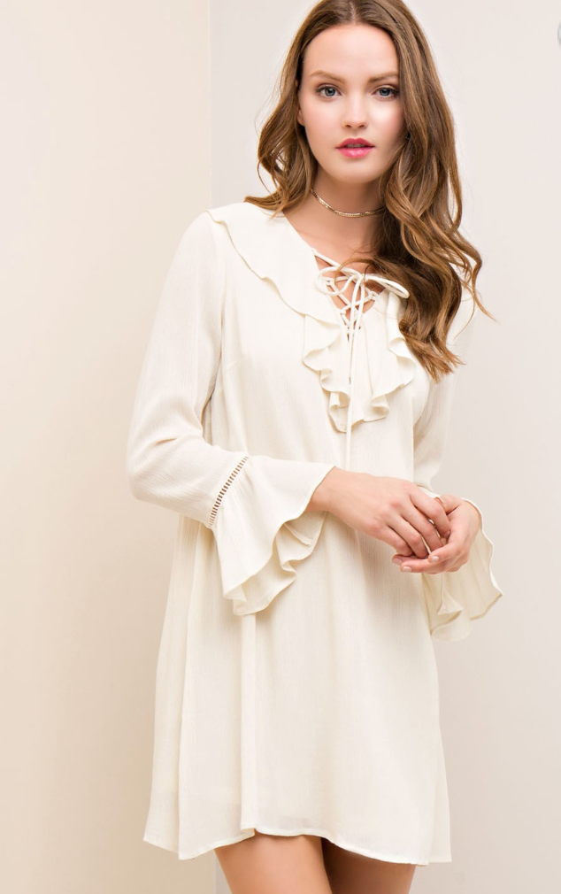 natural ruffle dress