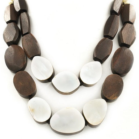 Oval Wood Shell Layered Necklace
