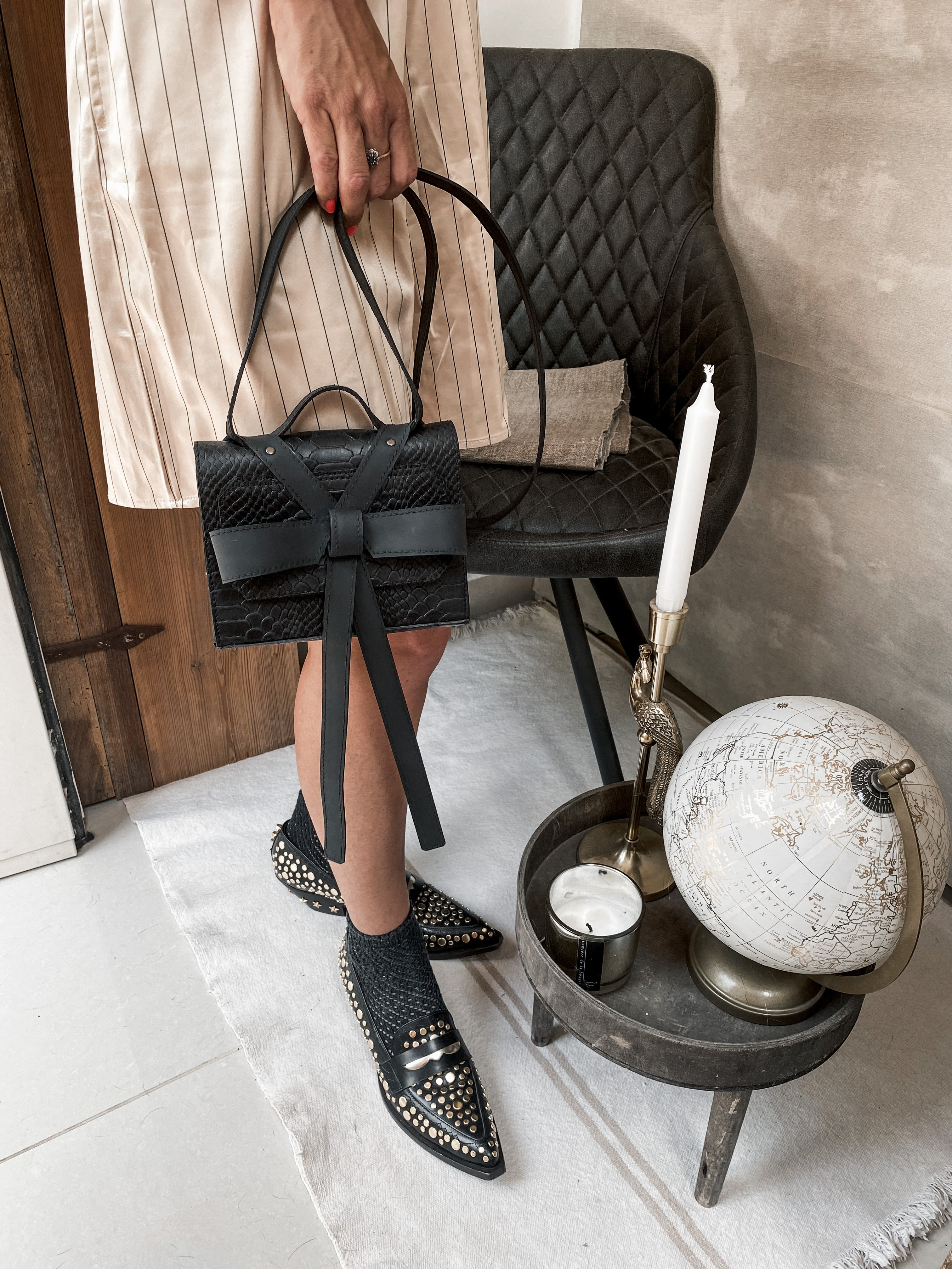 Papillon Box Bag - Black Croco - Collecte.studio