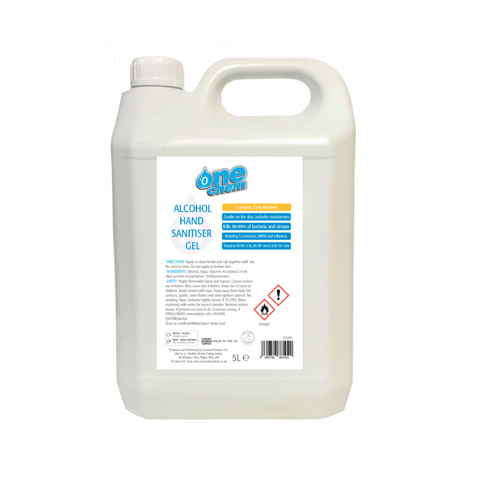 One Chem Hand Sanitiser Gel 5L (72% Alcohol)