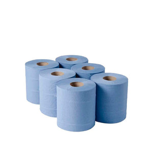 6 Pack Blue Roll - 2ply paper on centrefeed rolls x 150m length