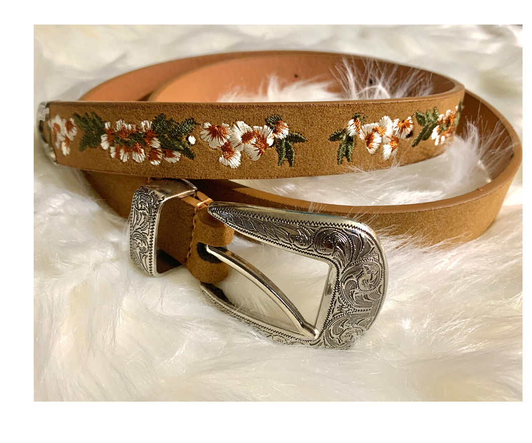 Embroidered Flowered Belt(Brown)