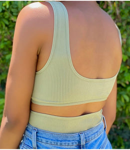 Mia Ribbed Bodysuit(Sage)