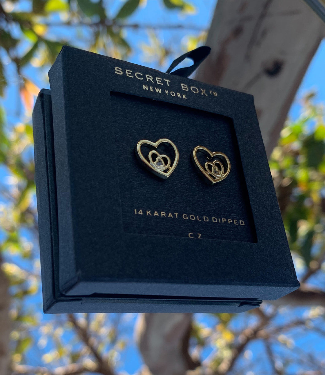 Double Heart Earrings(Gold)