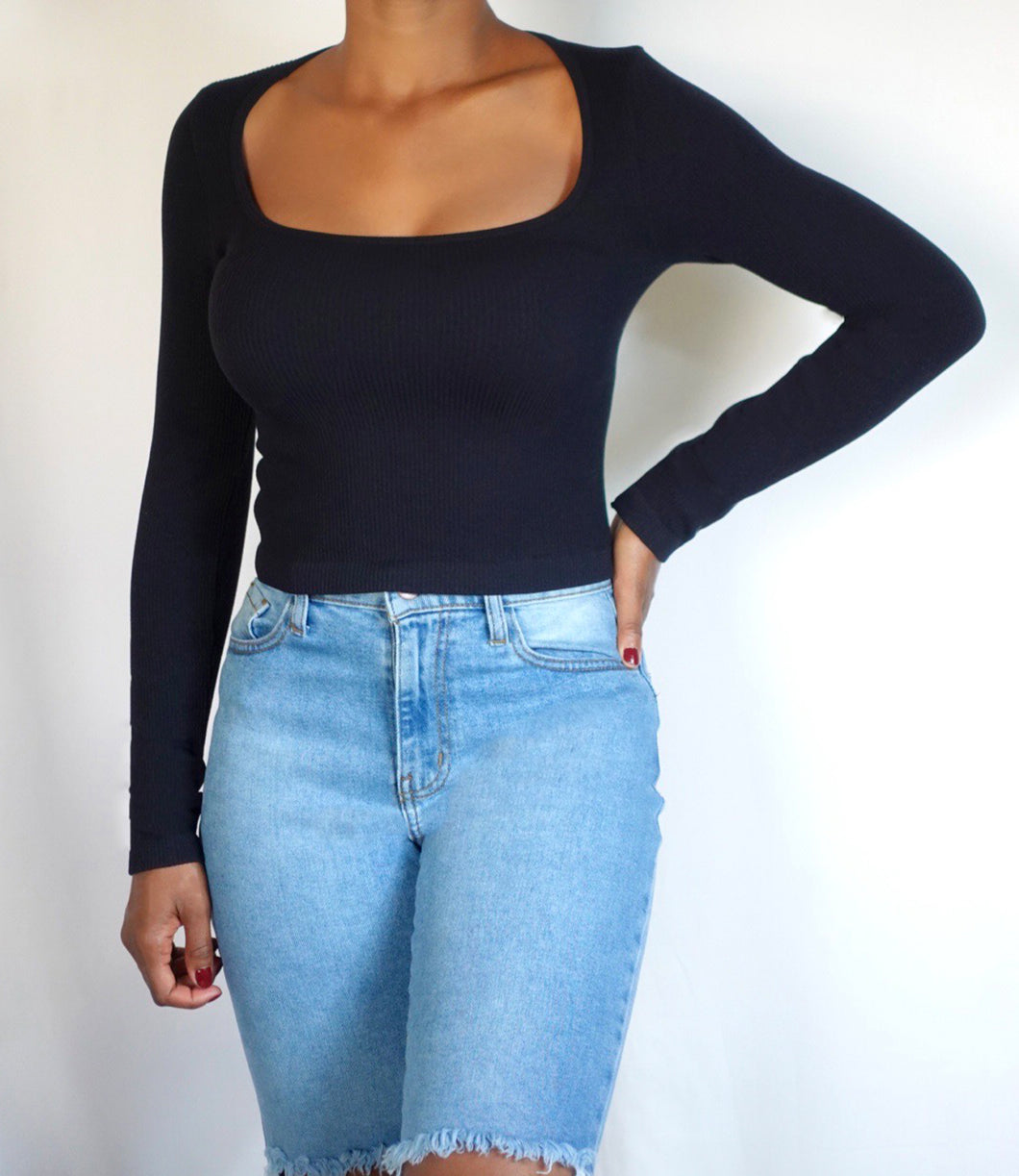 Leilani Ribbed Square Neck Top(Black)