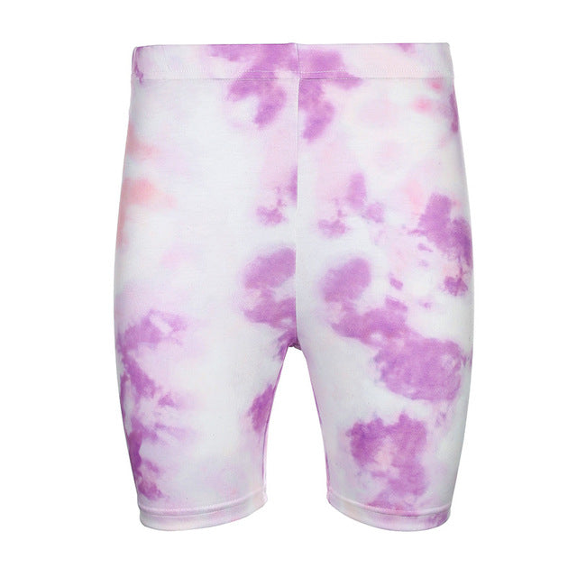 Tie Dye Print Basic Tshirt Shorts Two Piece Set Women Casual Outfits lounge Wear Jogging Femme Biker Shorts Tees Summer