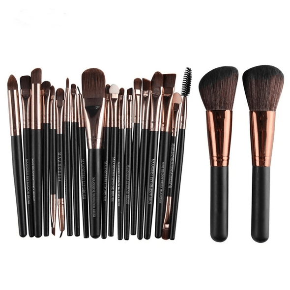 Markoon Black Brown Perle Makeup Brushes Set (22 pcs)