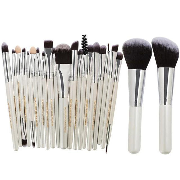 Markoon White Silver Perle Makeup Brushes Set (22 pcs)