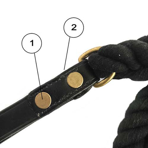 rope dog lead with leather handle