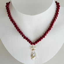 Load image into Gallery viewer, Garden Red Crystal and Baroque Pearl Necklace
