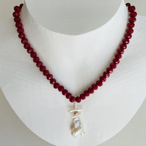 Garden Red Crystal and Baroque Pearl Necklace