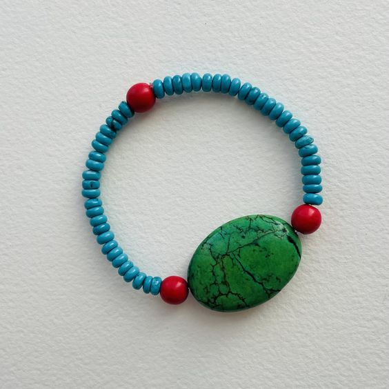Turquoise, Green and Coral Red Magnesite Bracelet