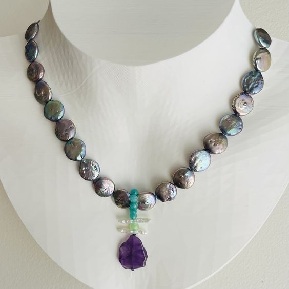 Artful Silver Peacock Pearl and Amethyst Necklace