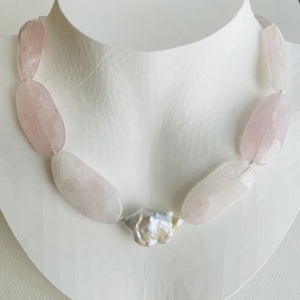 Garden Rose Quartz and Baroque Pearl Necklace