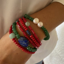 Load image into Gallery viewer, Red Coral, Lapis, Jade, Amazonite and Freshwater Pearl Bracelets, Set of Six