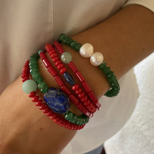 Red Coral, Lapis, Jade, Amazonite and Freshwater Pearl Bracelets, Set of Six