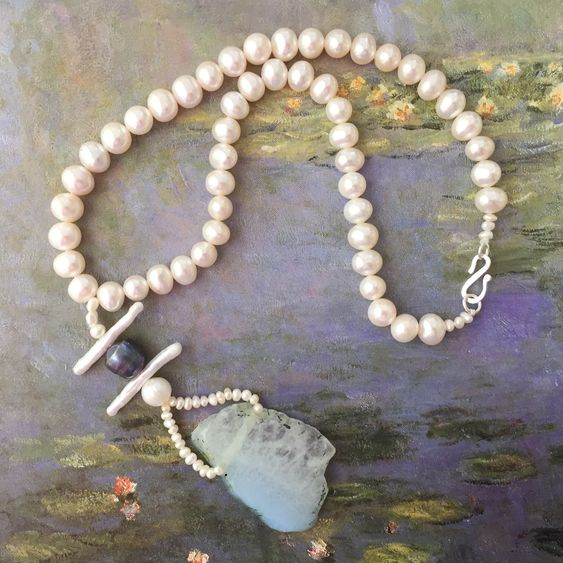 Freshwater Pearl and Blue Agate Necklace