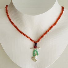 Load image into Gallery viewer, Artful Baroque Pearl and Tangerine Jade Necklace