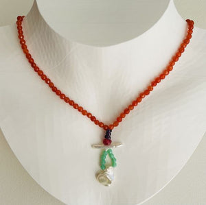Artful Baroque Pearl and Tangerine Jade Necklace